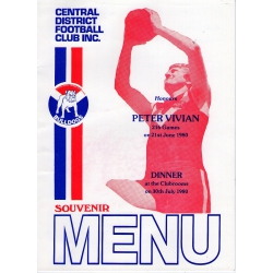 CDFC: Peter Vivian Dinner Menu 1980 SIGNED