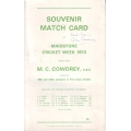 Colin Cowdrey Souvenir Match Card SIGNED BY COWDREY
