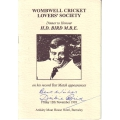 Wombell Cricket Lovers Society Dinner For Dickie Bird Menu SIGNED BY DICKIE BIRD