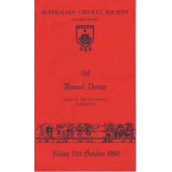 Australian Cricket Society 3rd Annual Dinner Menu SIGNED BY BILL O'REILLY