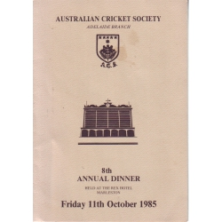 Australian Cricket Society 8th Annual Dinner Menu SIGNED BY SIR DONALD BRADMAN